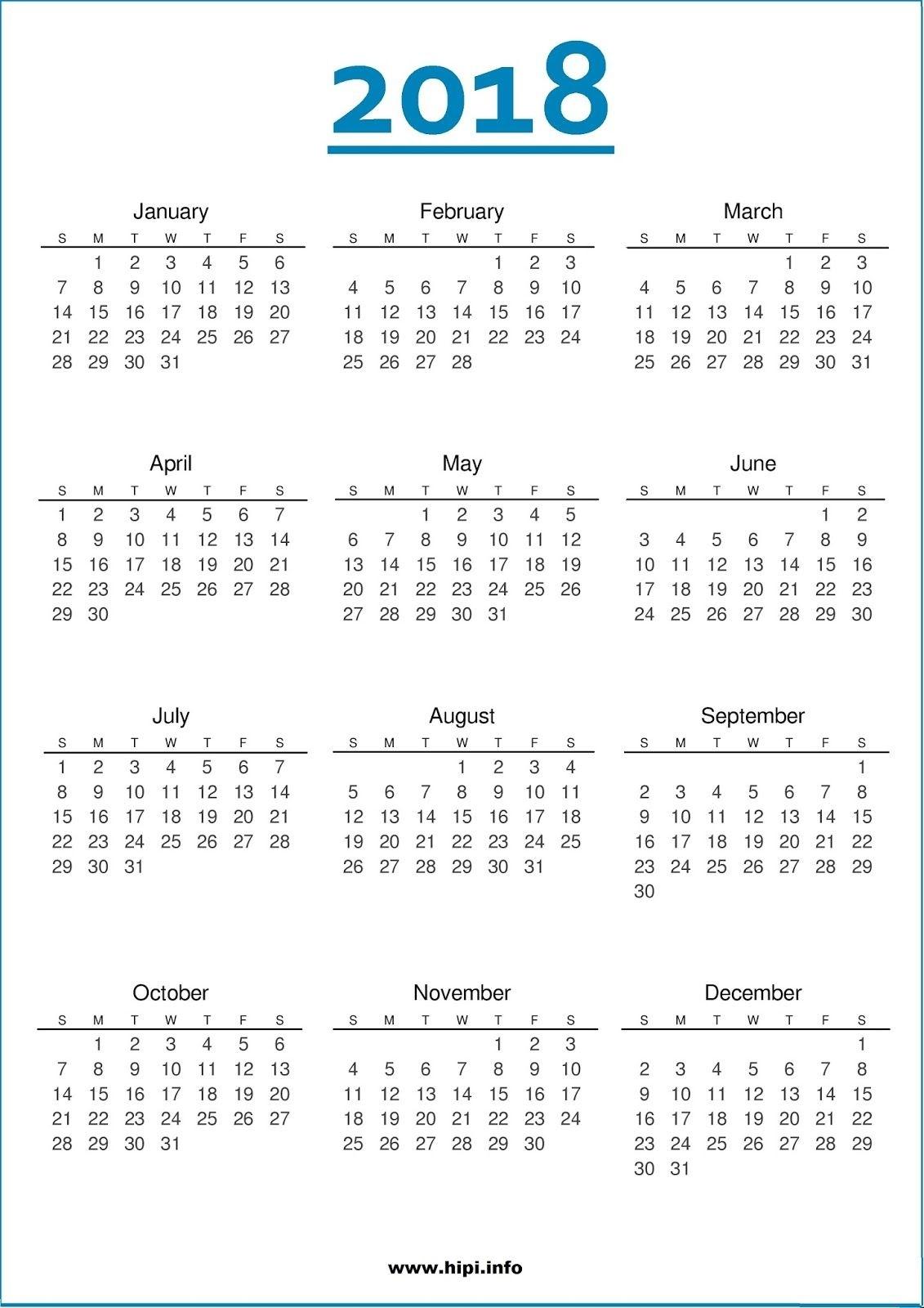2018 Calendar One Page | November Calendar | Calendar 2018