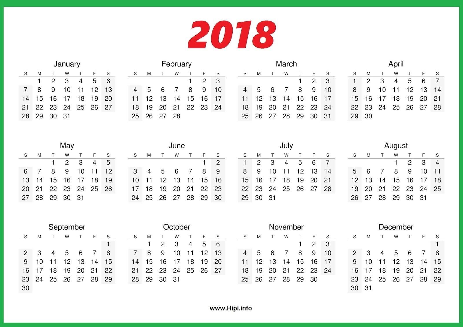 2018 Calendar One Page | November Calendar | Printable