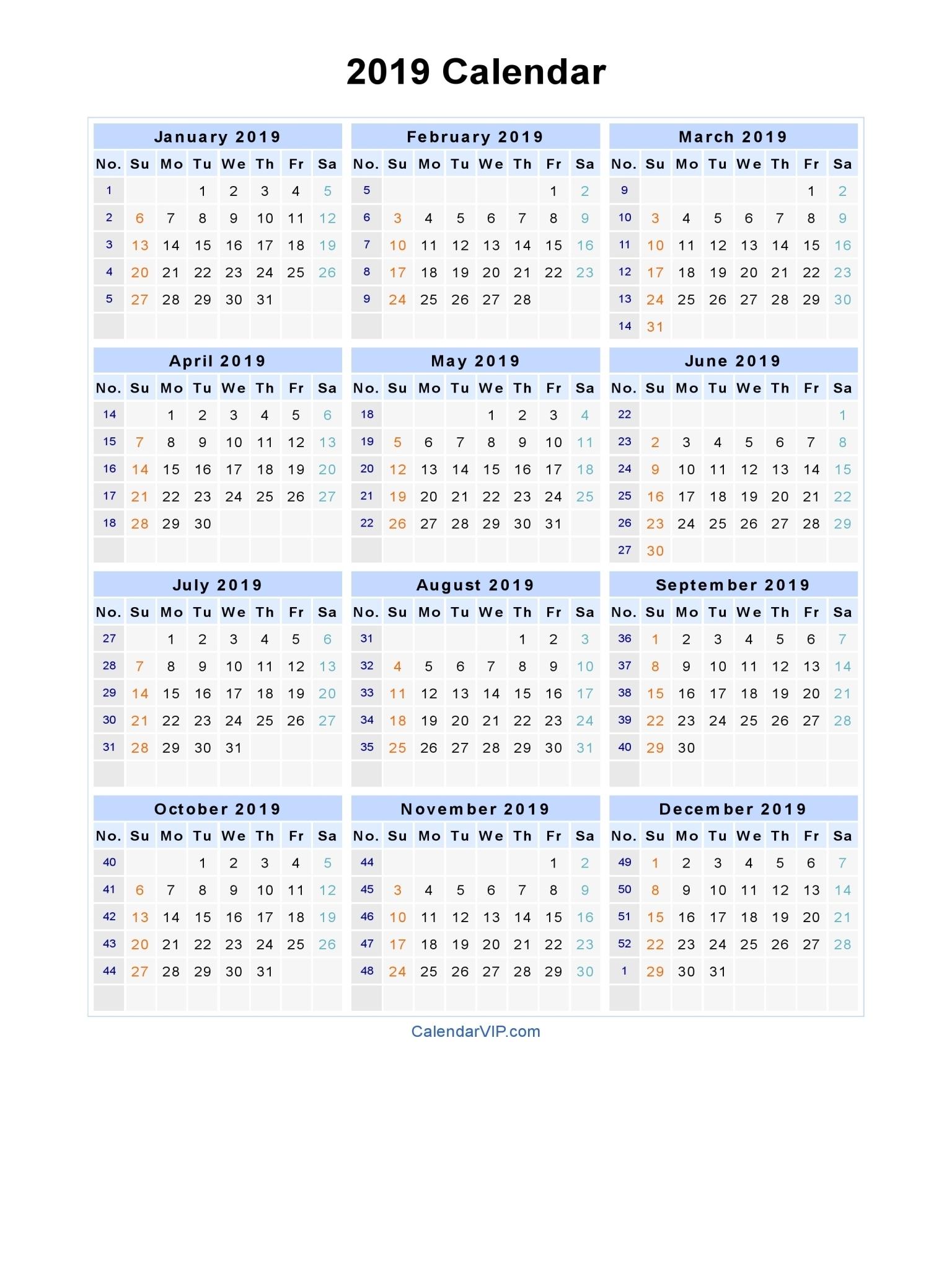 2019 Calendar - Blank Printable Calendar Template In Pdf