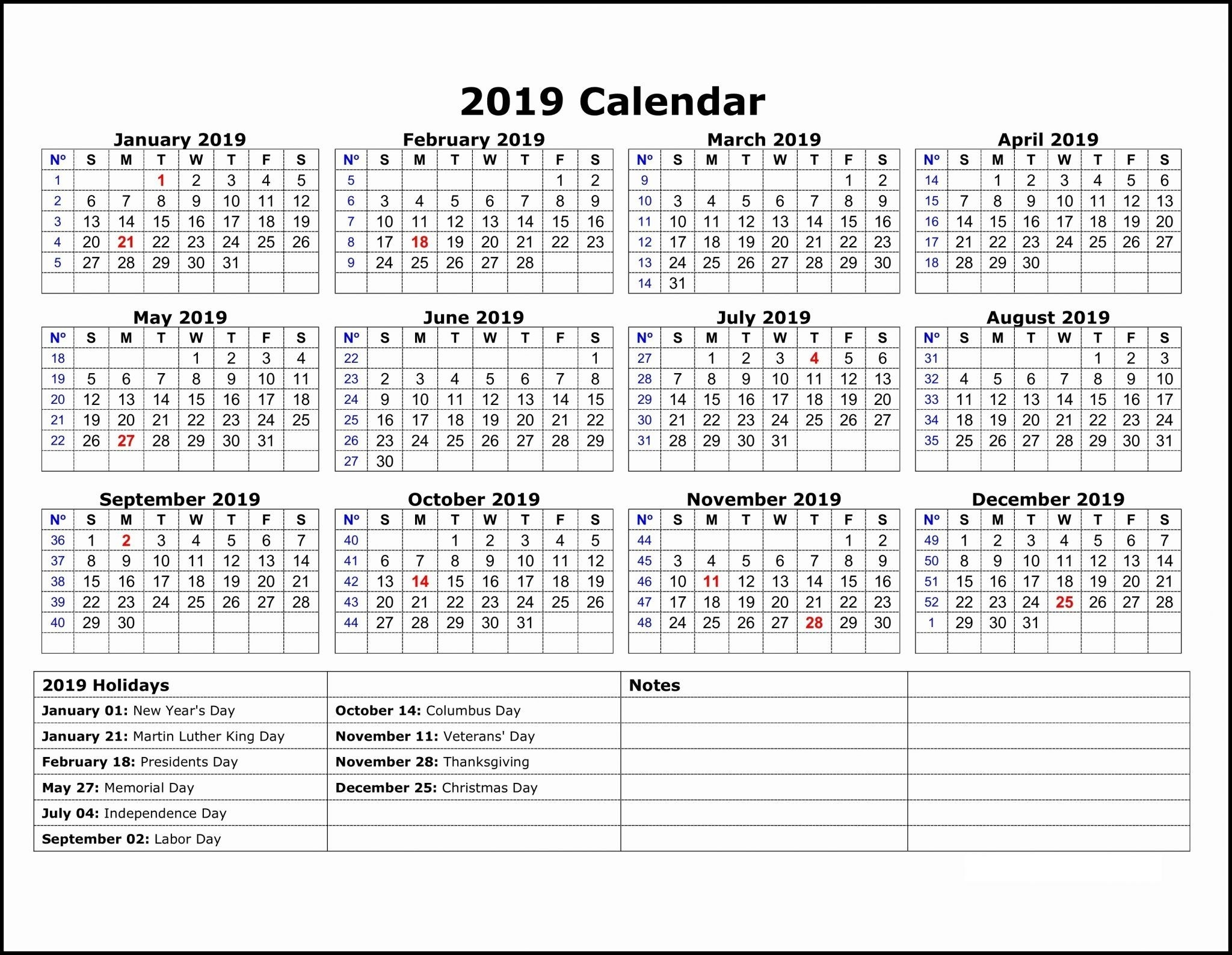 2019 Calendar Template One Page | 12 Month Calendar In One