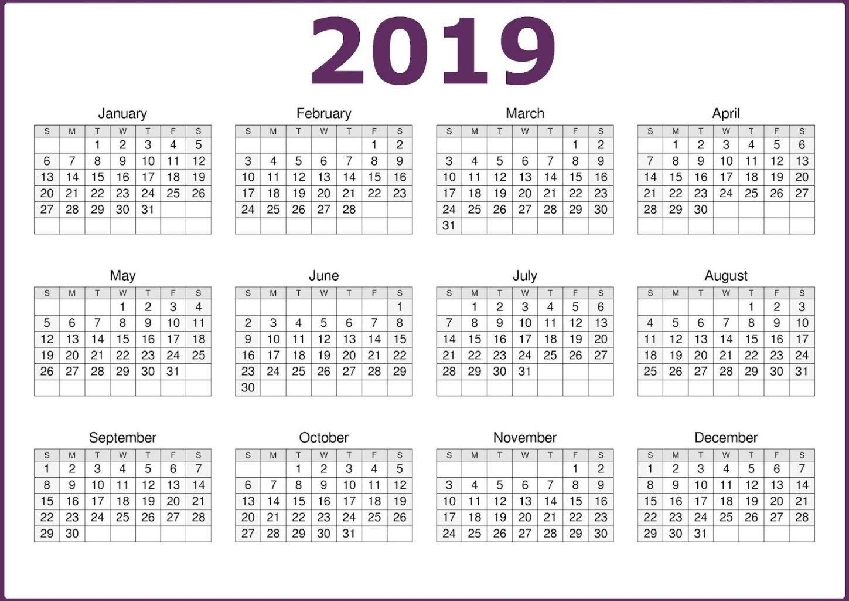 2019 One Page Calendar Printable | Free Printable Calendar