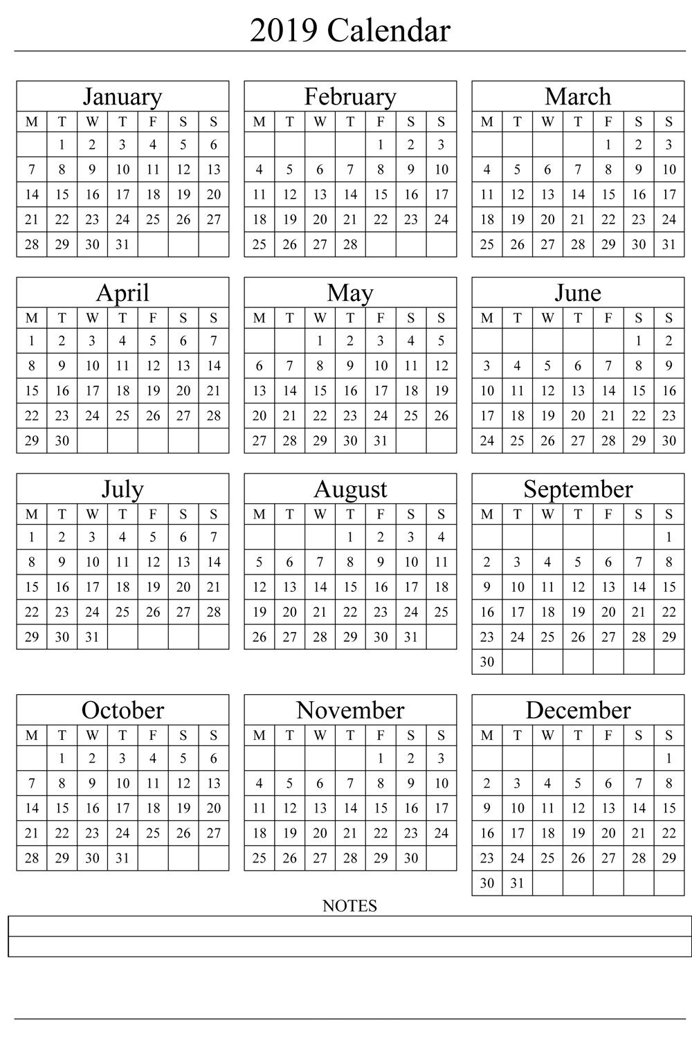 2019 One Page Calendar With Notes | 2019 Calendars | Free