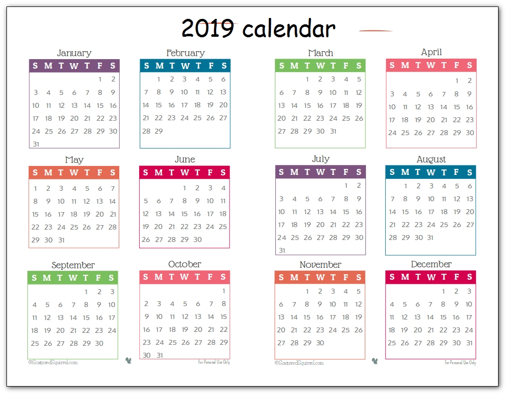2019 Printable 12 Month One Page Calendar Template Pdf Word
