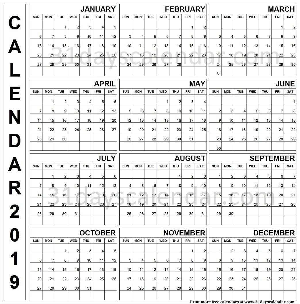 2019 Printable Calendar One Page Vertical | Yearly Calendar