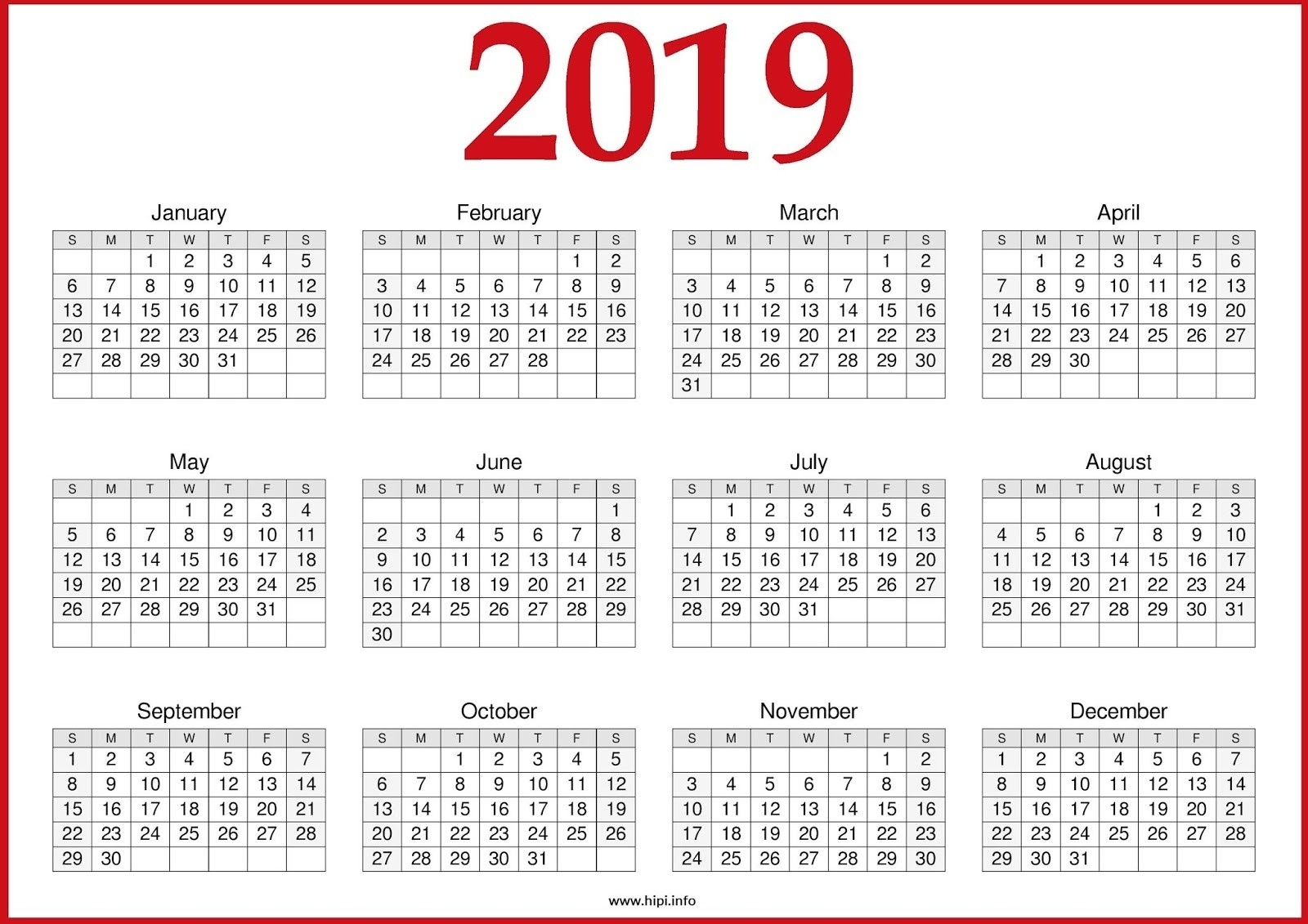 2019 Printable Yearly Calendar One Page - Free August 2019