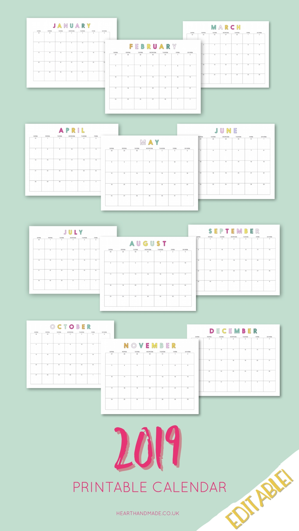 2019 Rainbow Editable Calendar | Printable Planner, Craft