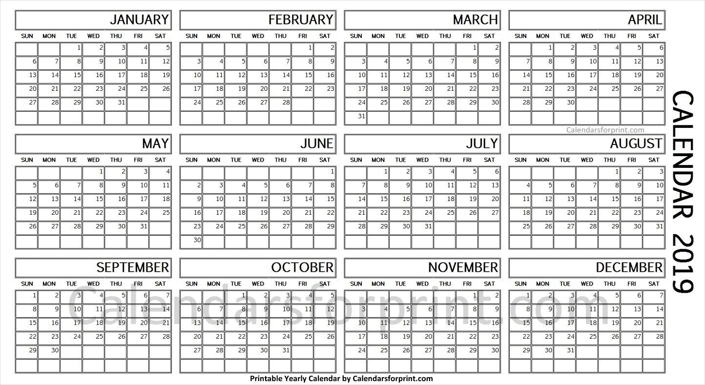2019 Year Calendar On One Page | Yearly Calendar 2019