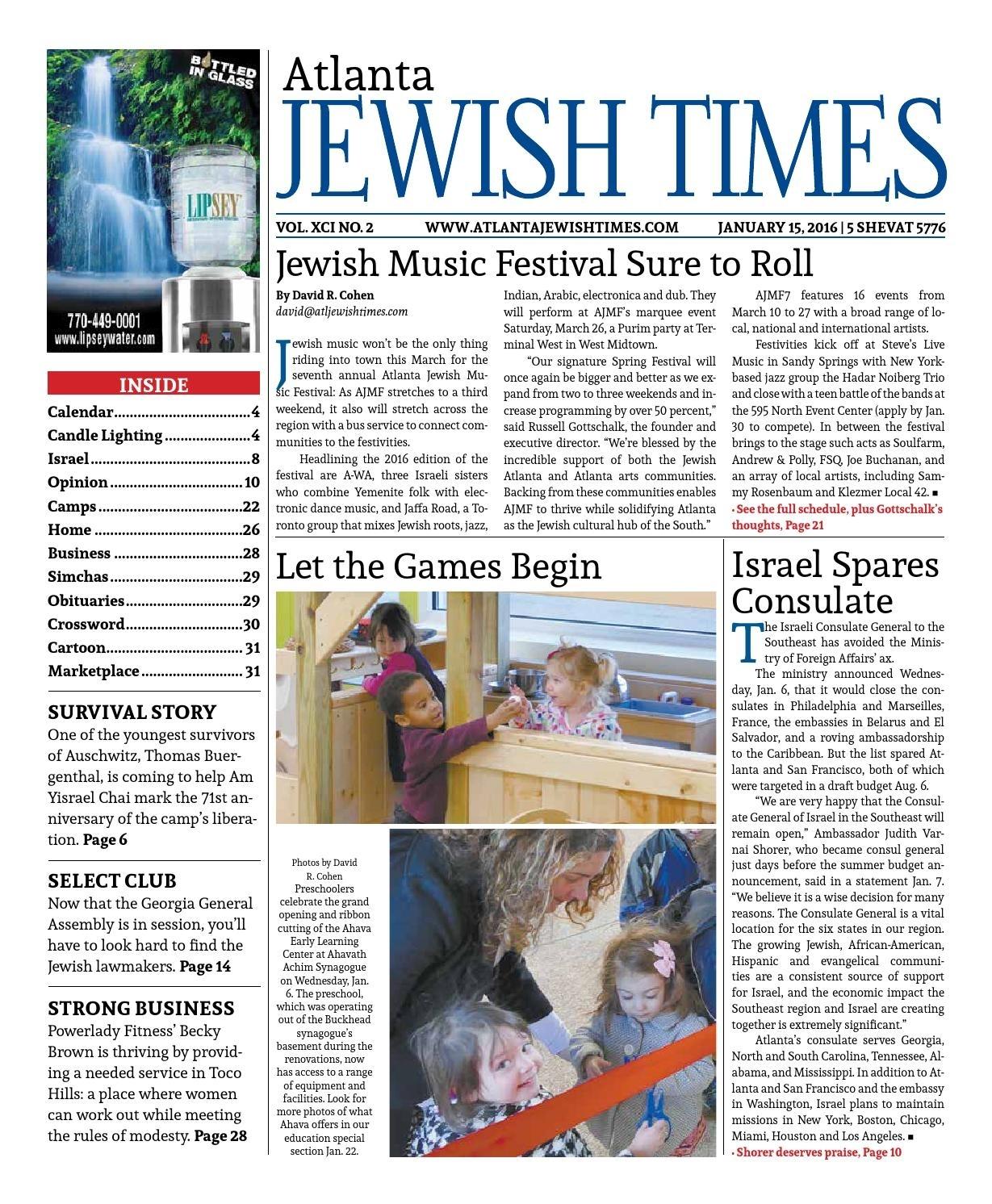 Atlanta Jewish Times, Vol. Xci No. 2, January 15, 2016