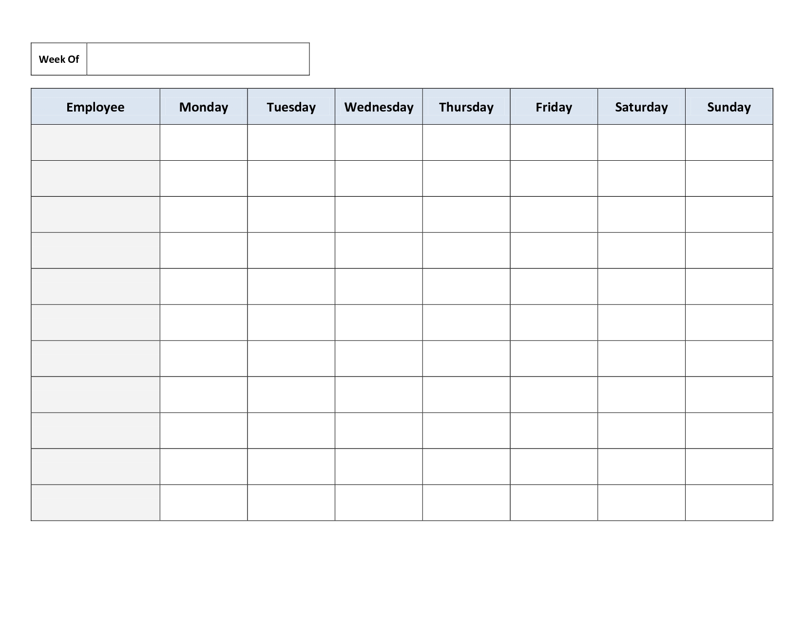 Blank Weekly Work Schedule Template | Schedule | Class