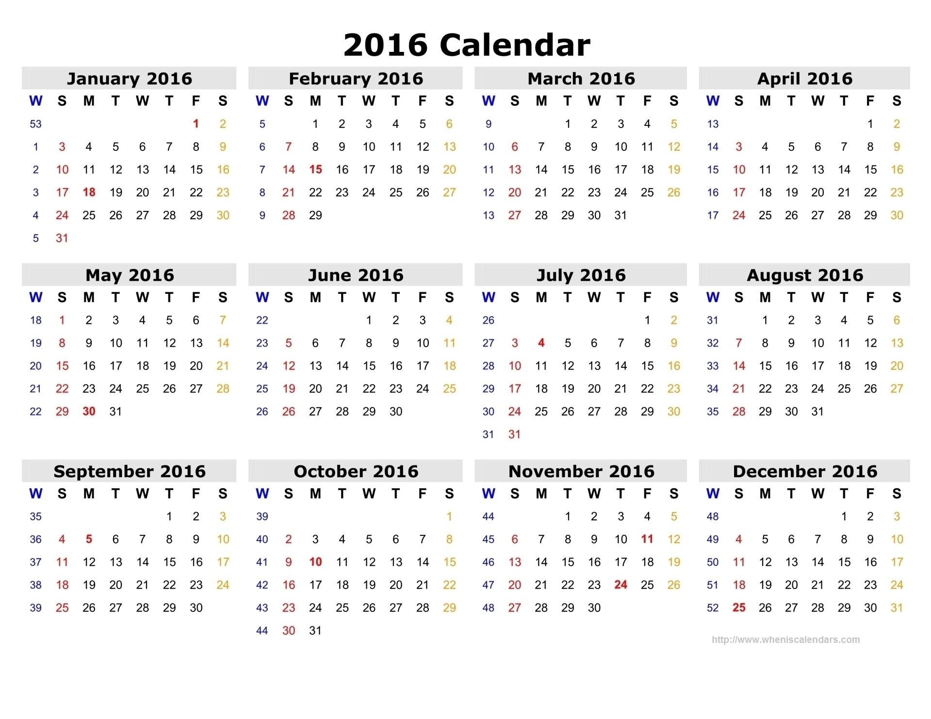 Calendar 2016 12 Months, Indicating Number Weeks 2016