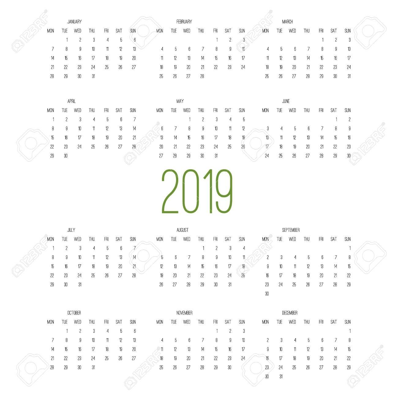 Calendar 2019, Week Starts From Sunday, Business Template Vector..