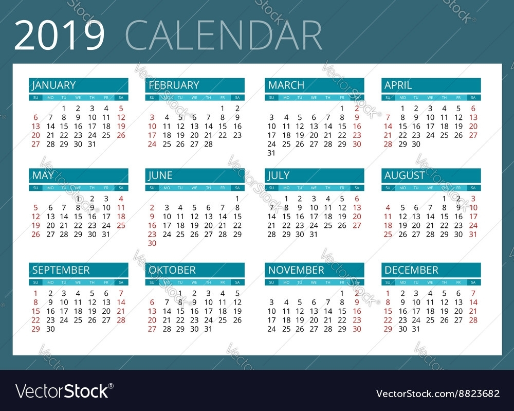 Calendar For 2019 Week Starts Sunday Simple