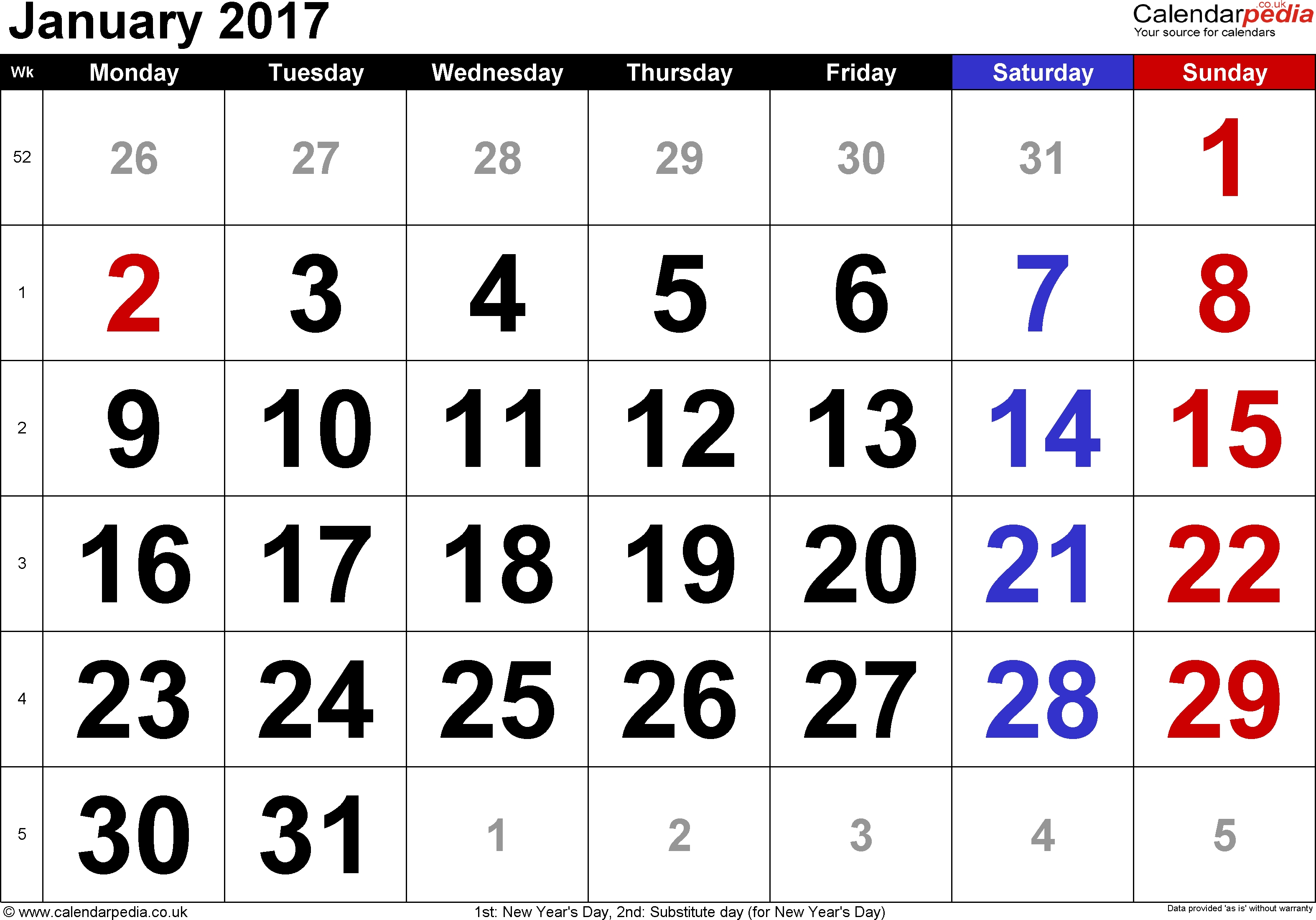 Calendar January 2017 Uk, Bank Holidays, Excel/pdf/word