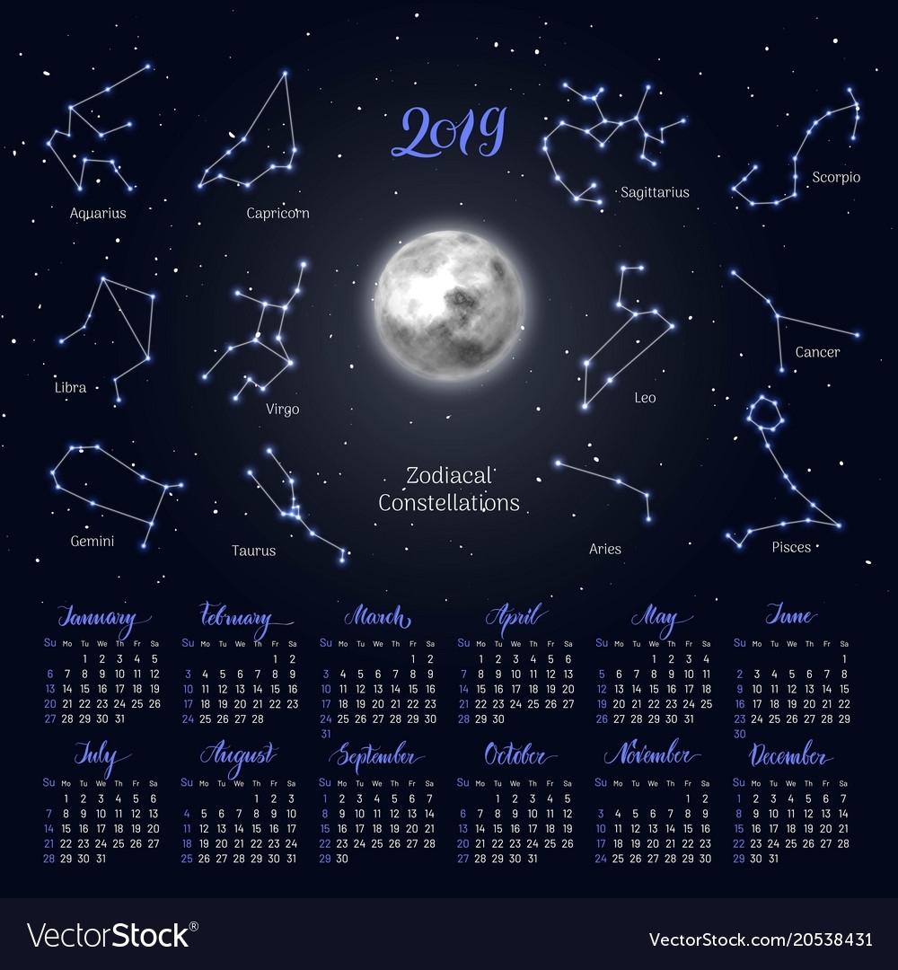 Calendar Moon Zodiac Constellations 2019 Night