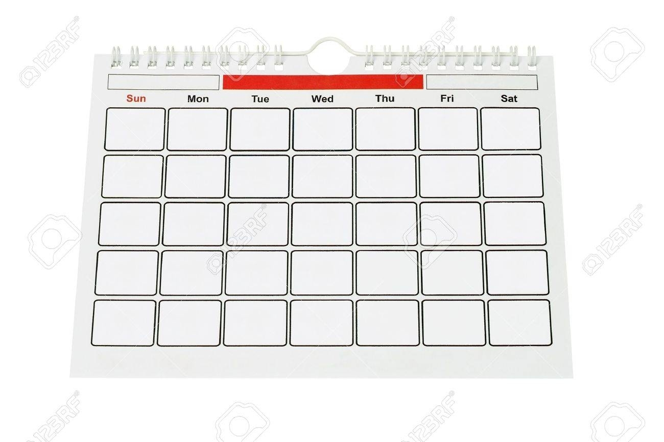 Calendar Page With Blank Boxes For Year, Month And Dates On White..