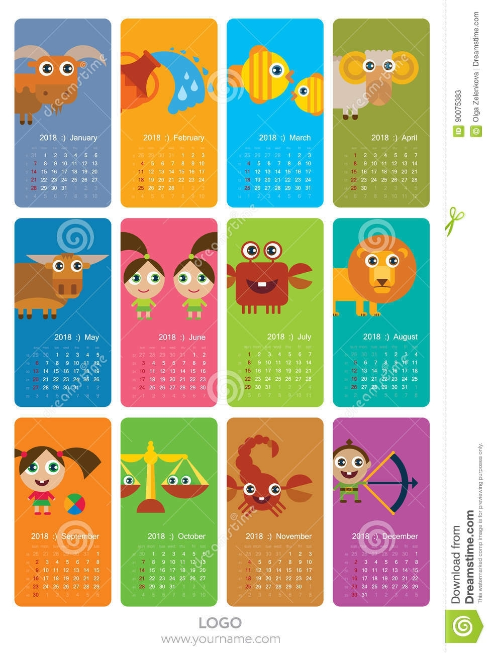 Calendar With Zodiac Signs Stock Illustration. Illustration