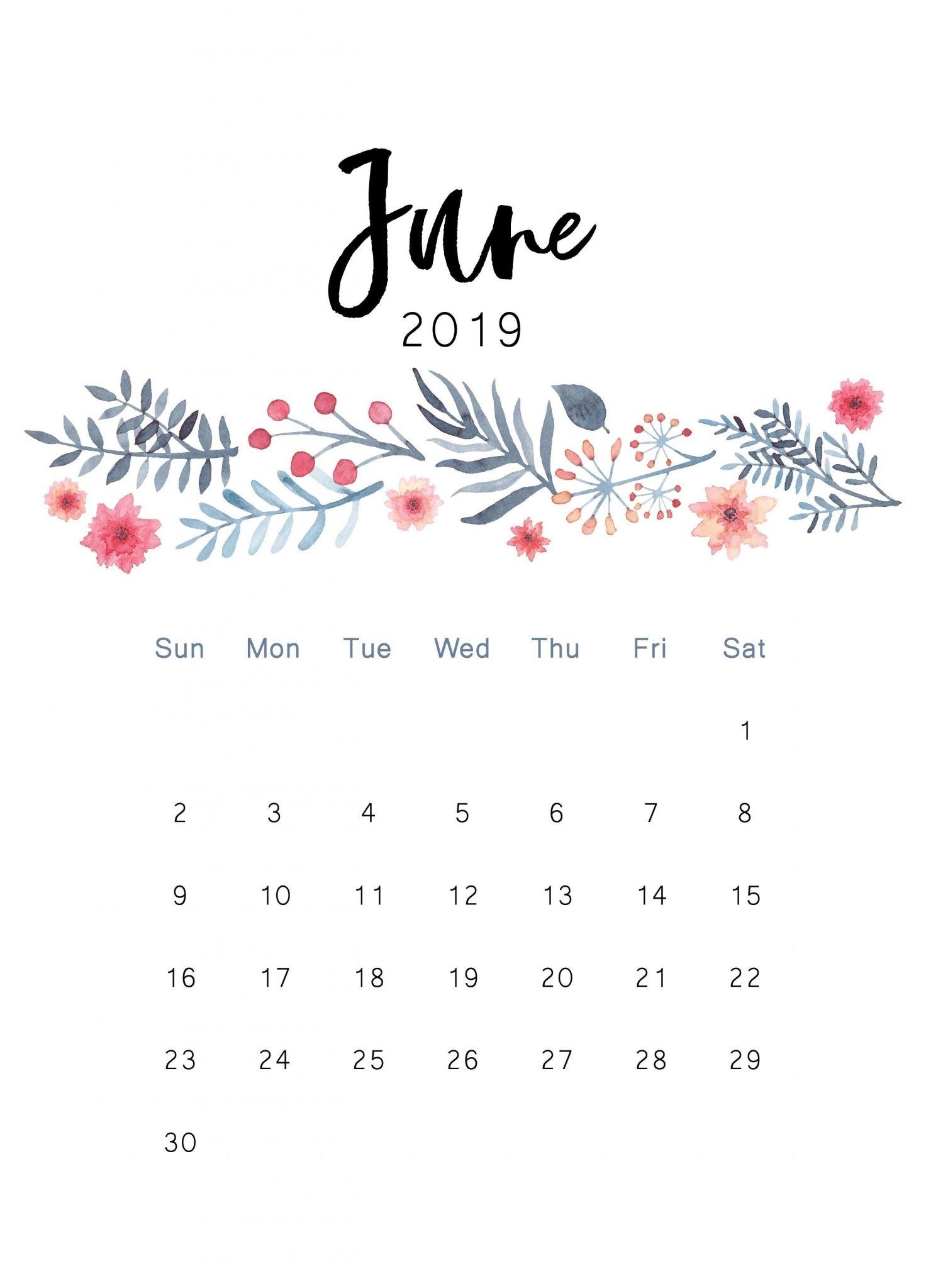 Cute June 2019 Iphone Calendar Wallpaper - Free Printable