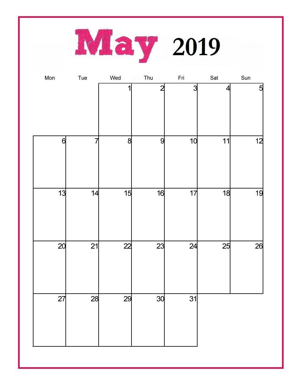 Editable May 2019 Vertical Calendar Template #may #may2019