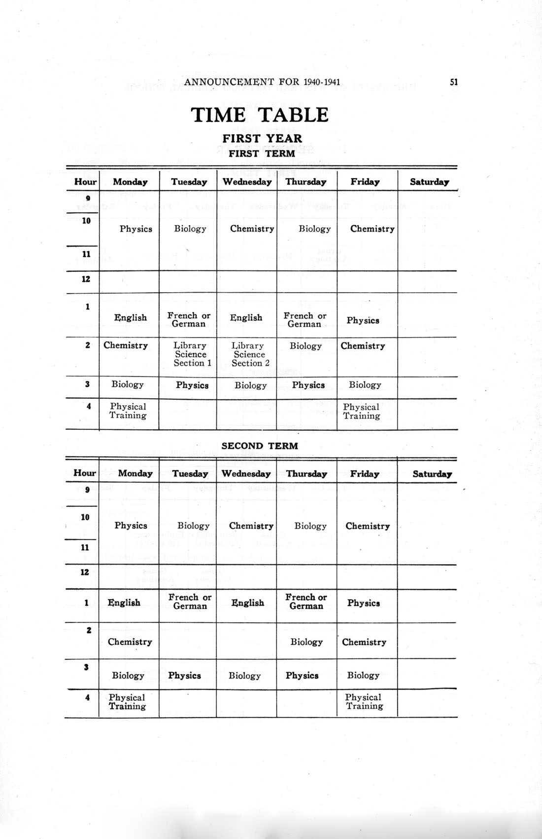 Faculty Of Medicine Calendar 1940-1941, First Year Timetable
