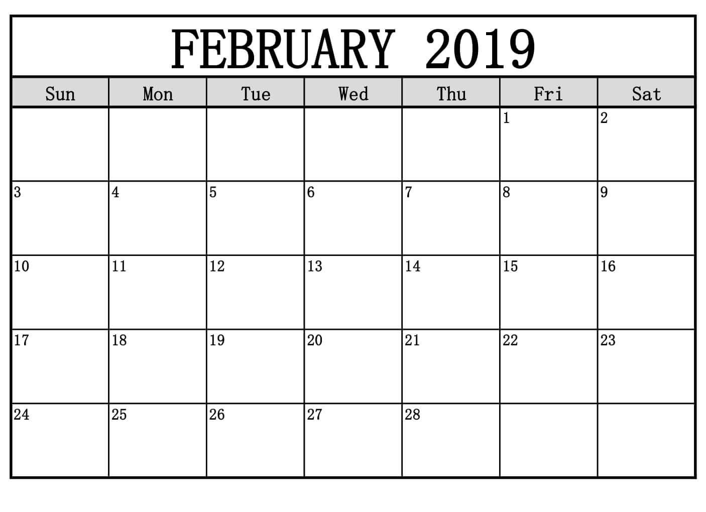 February 2019 Calendar Decorative | Free Printable February