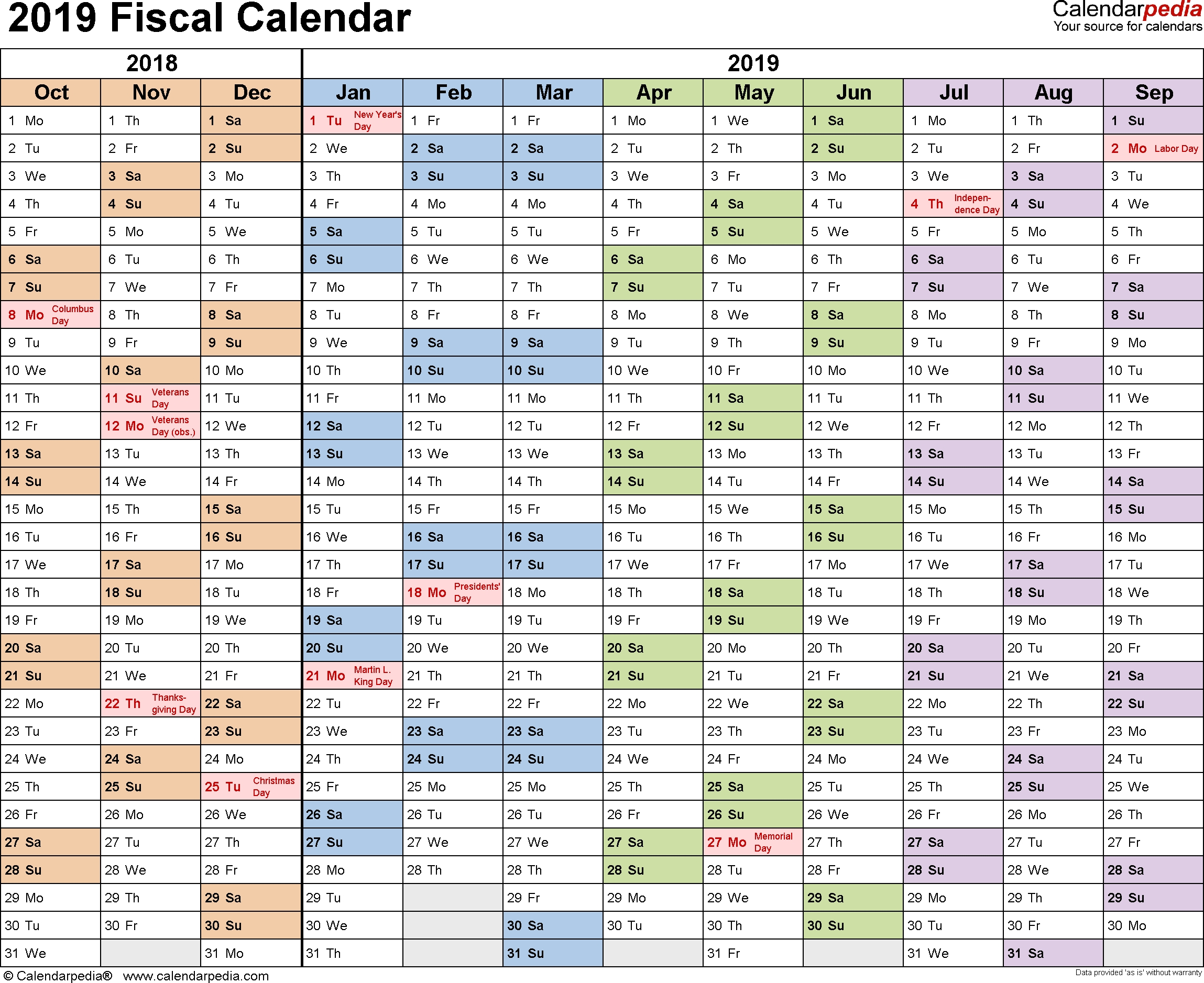 Fiscal Calendars 2019 - Free Printable Word Templates