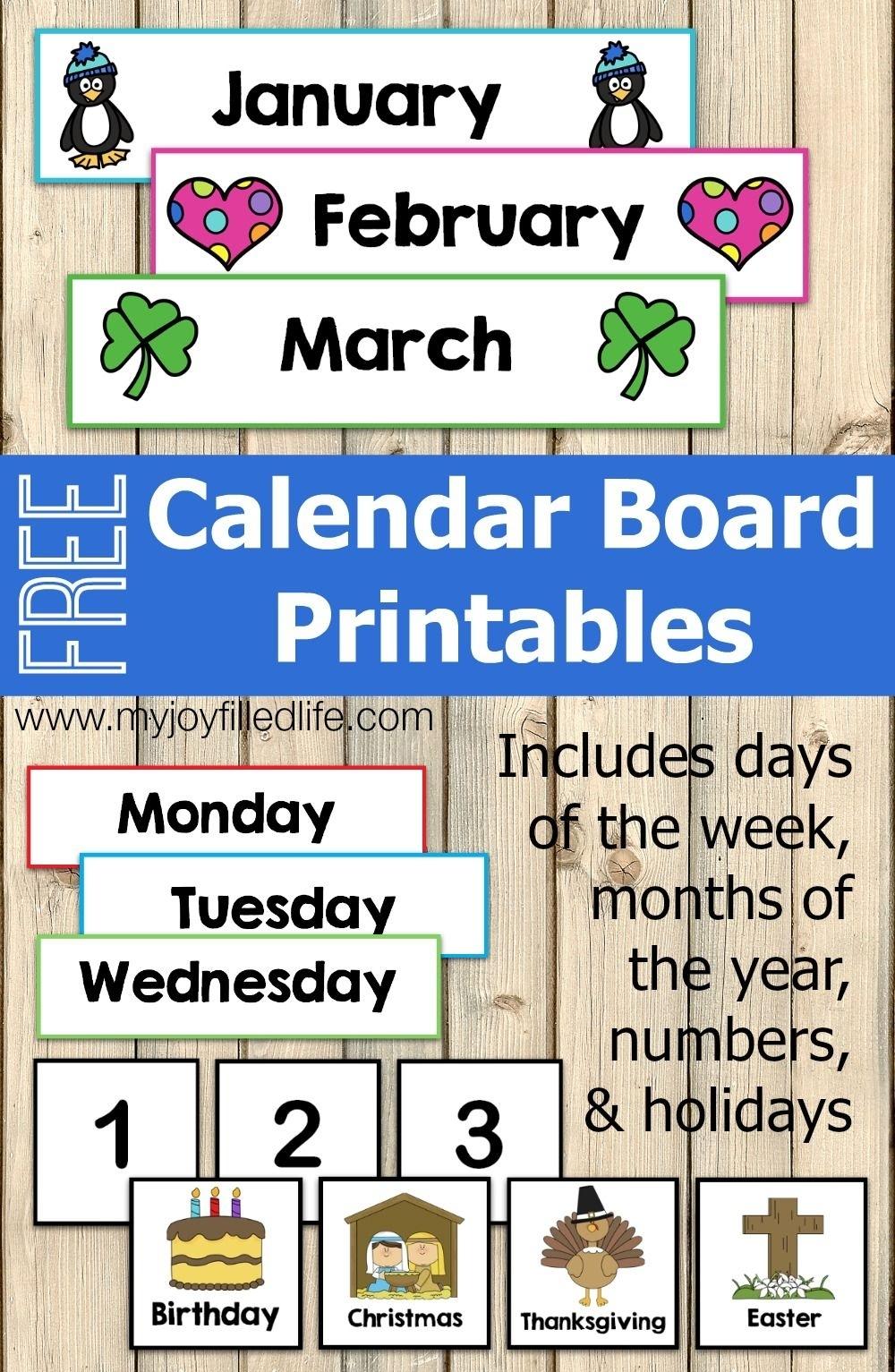 Free Calendar Board Printables   Homeschool   Preschool