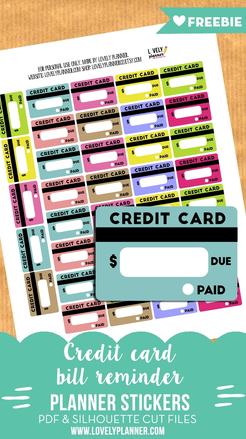 Free Credit Card Bill Reminder Stickers - Printable & Cut