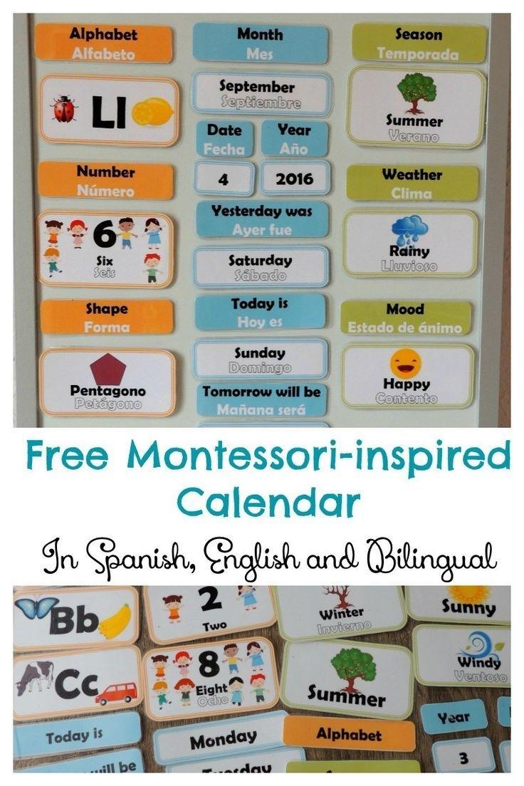 Free Hands-On Bilingual Calendar For Children (English