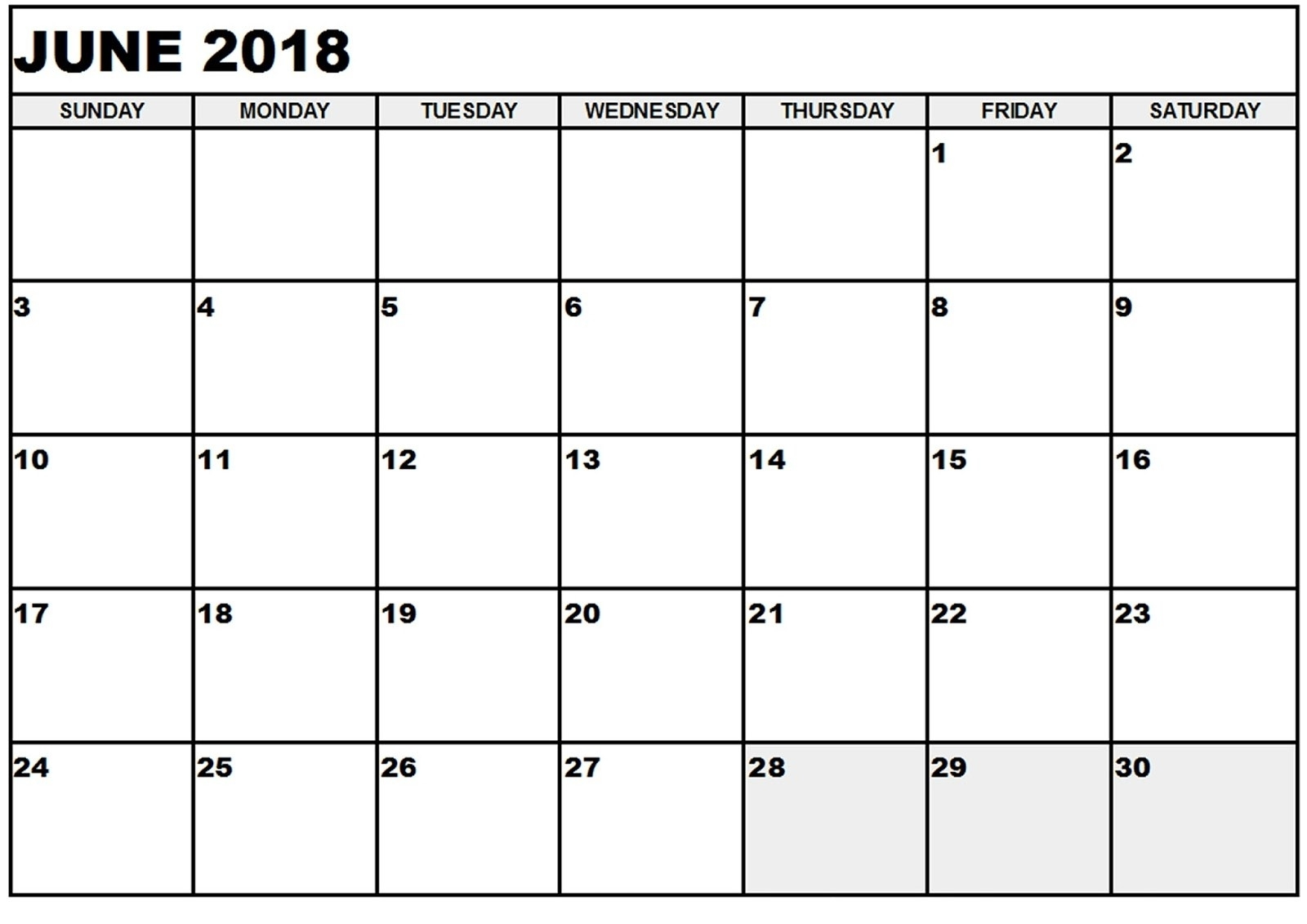 Free June 2018 Calendar In Printable Format Templates