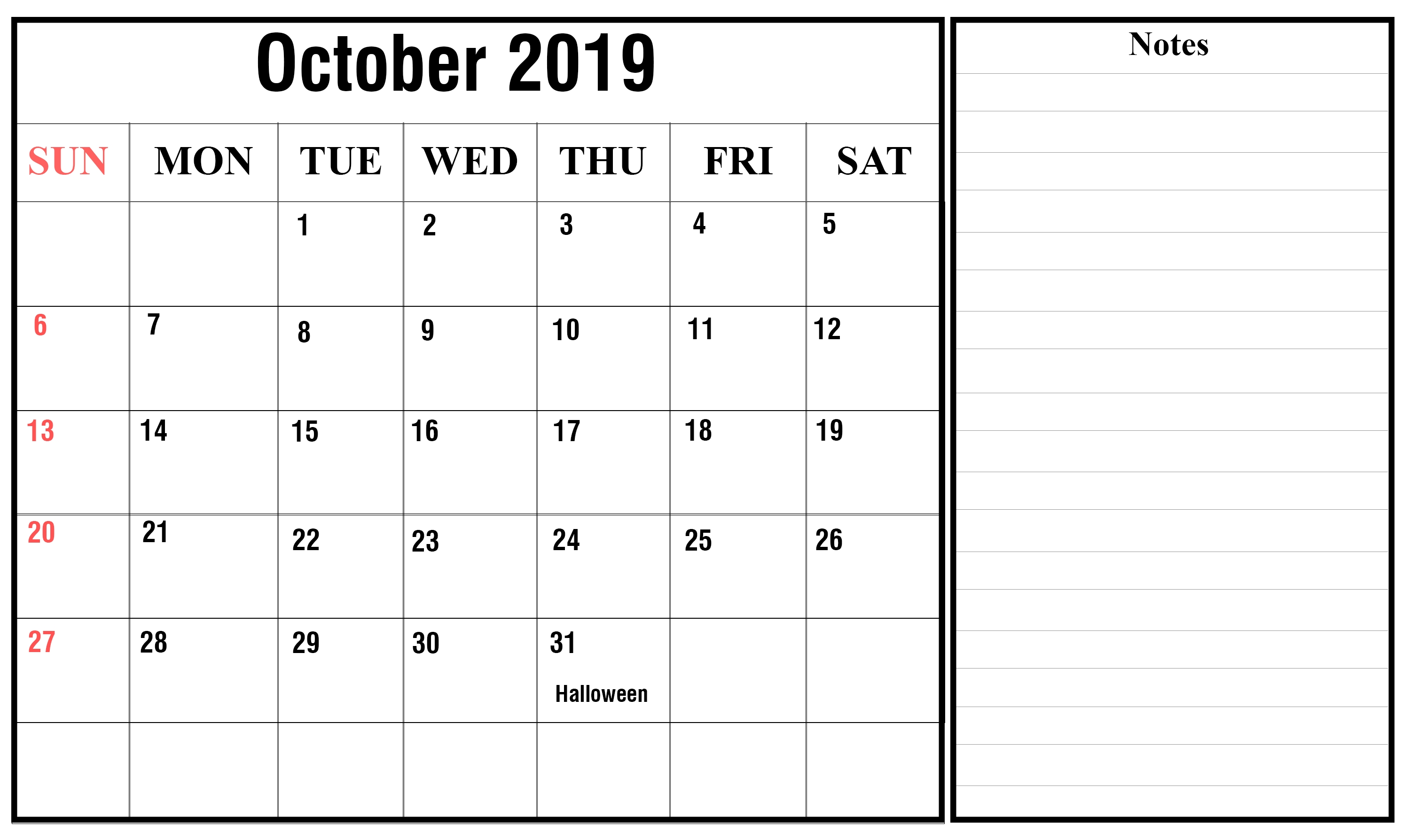Free October 2019 Printable Calendar Templates {Pdf, Excel