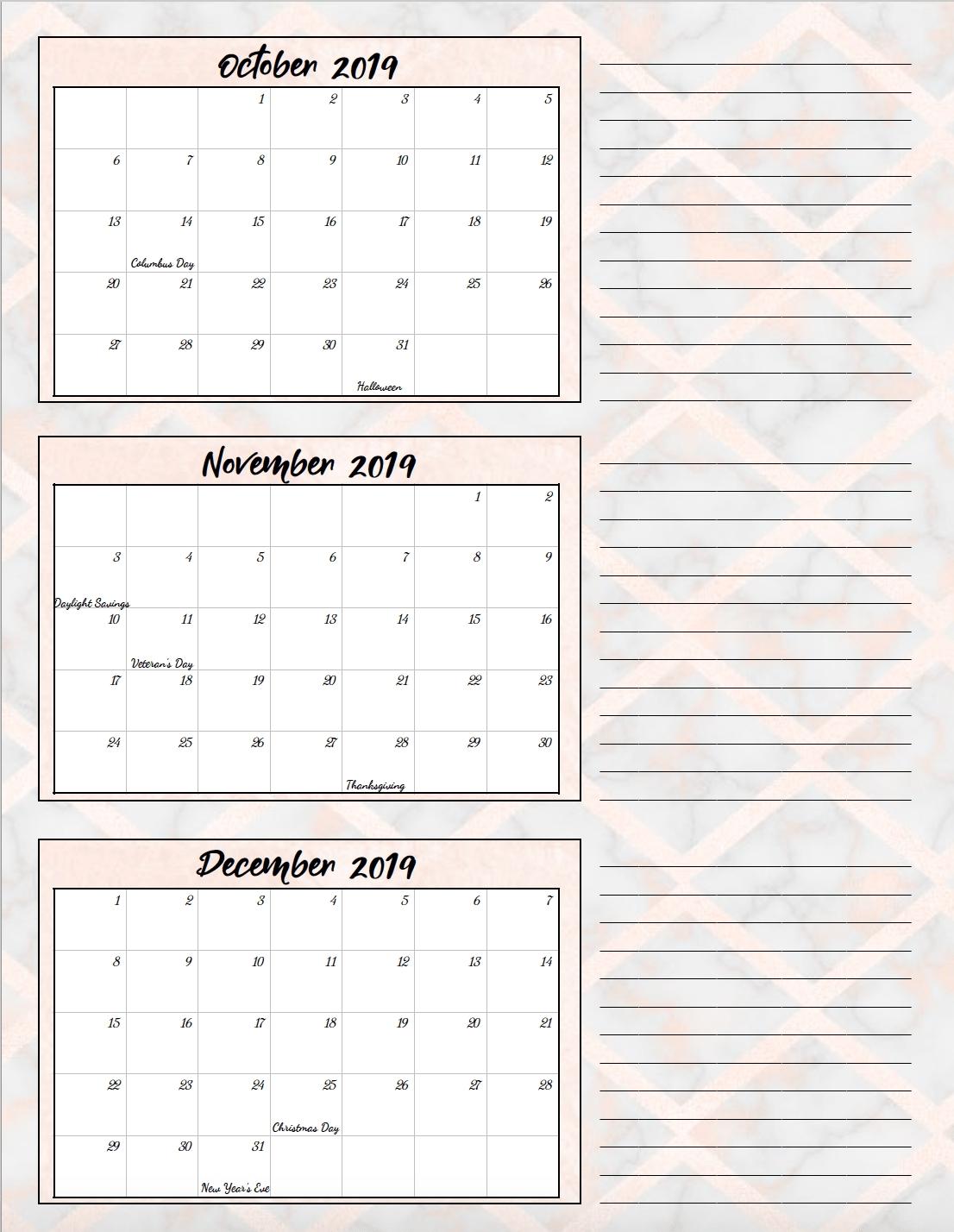 Free Printable 2019 Quarterly Calendars With Holidays: 3 Designs