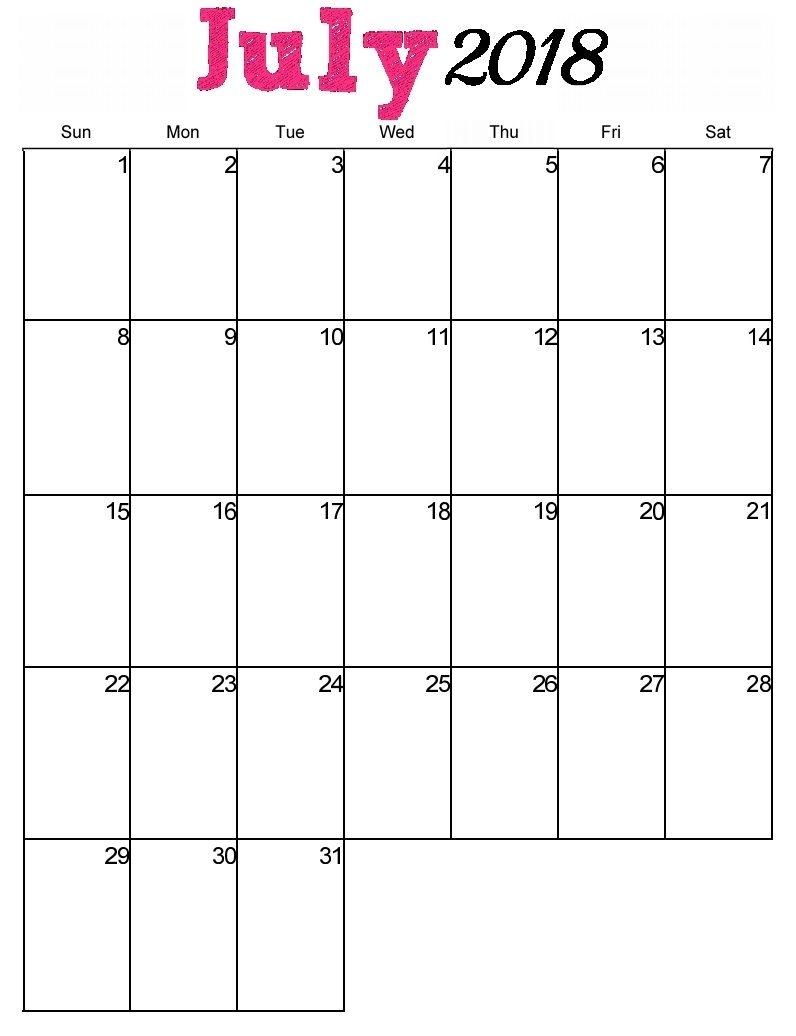Free Printable July 2018 Vertical Calendar | Maxcalendars