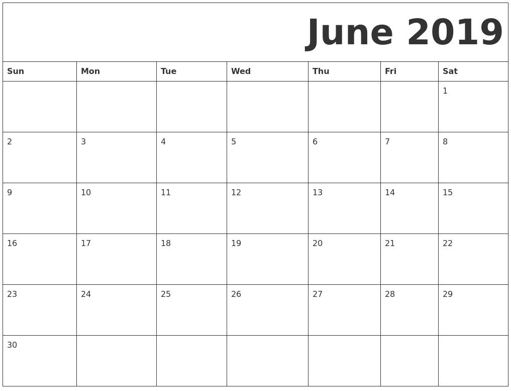 Free Printable June 2019 Calendar Decorative | June 2019