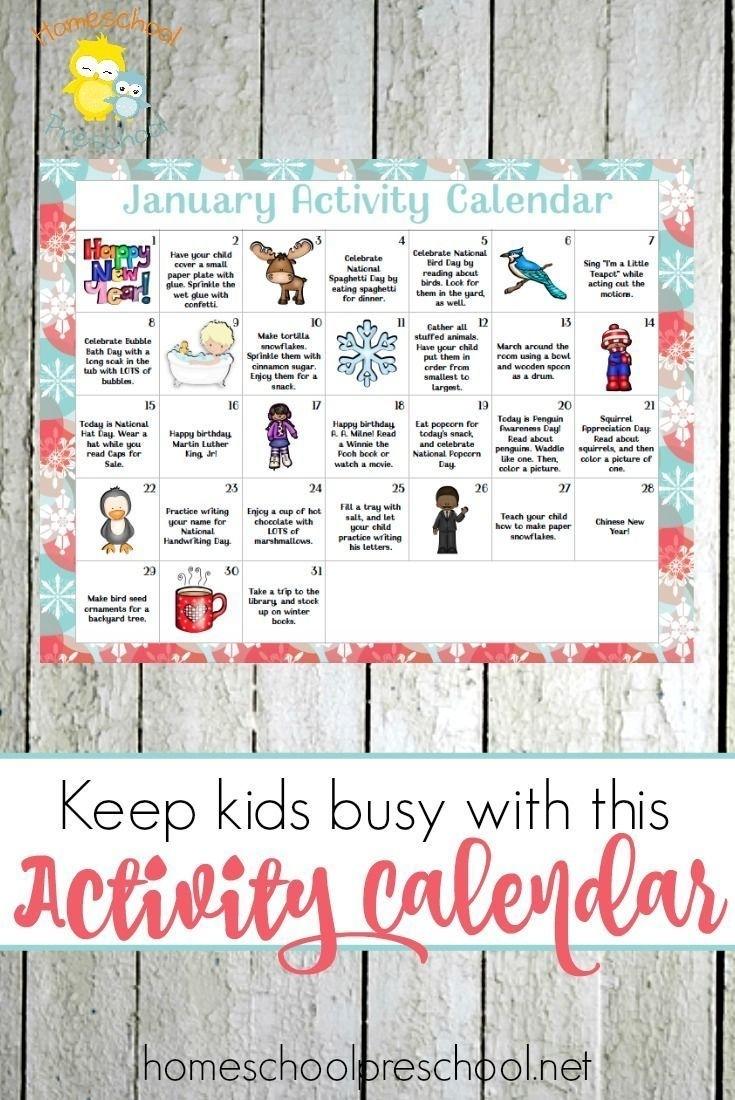 Free Printable Preschool Activity Calendar For January   Pre