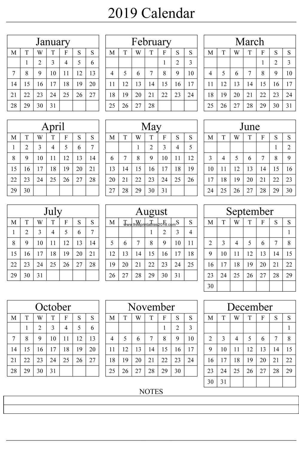 Free Printable Quarterly Calendar 2019 Calendar 2019 | Free