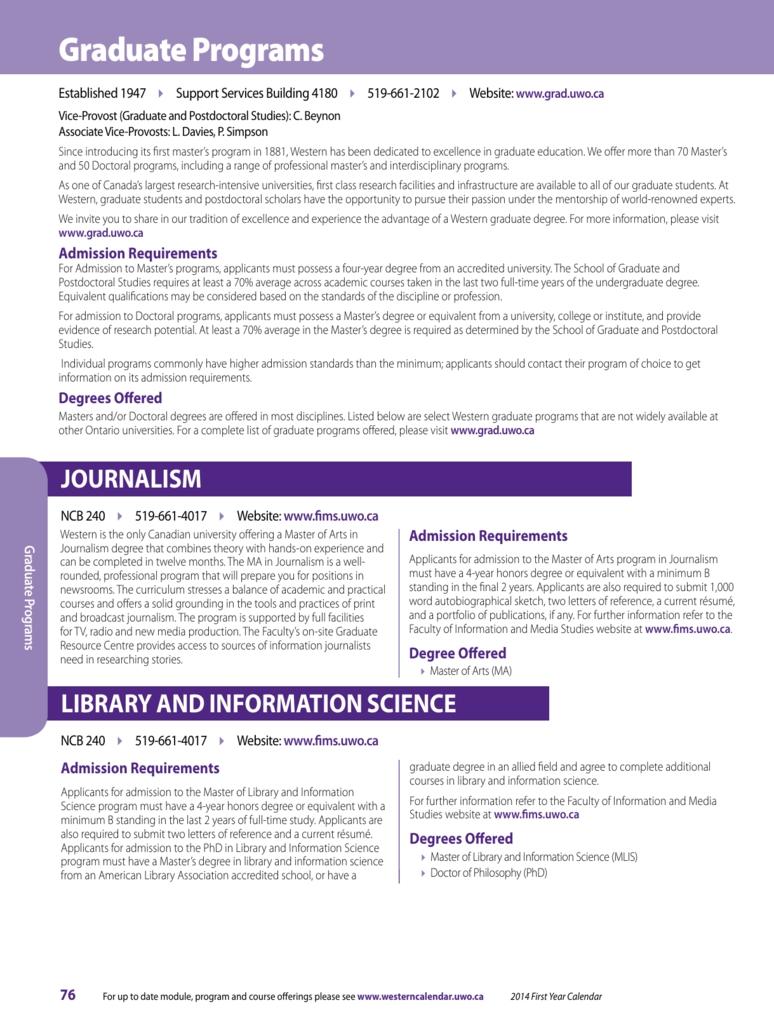 Graduate Programs - Academic Calendar