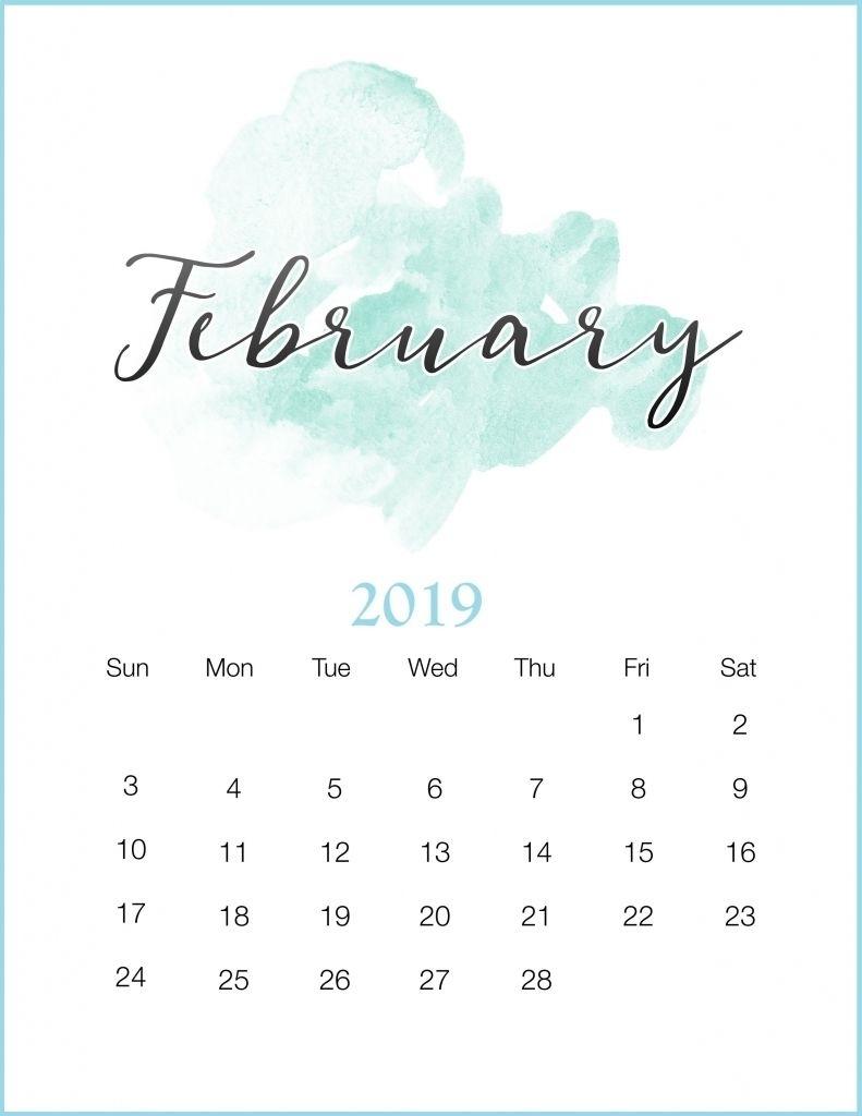 January 2019 Iphone Calendar Watercolor 2019 February