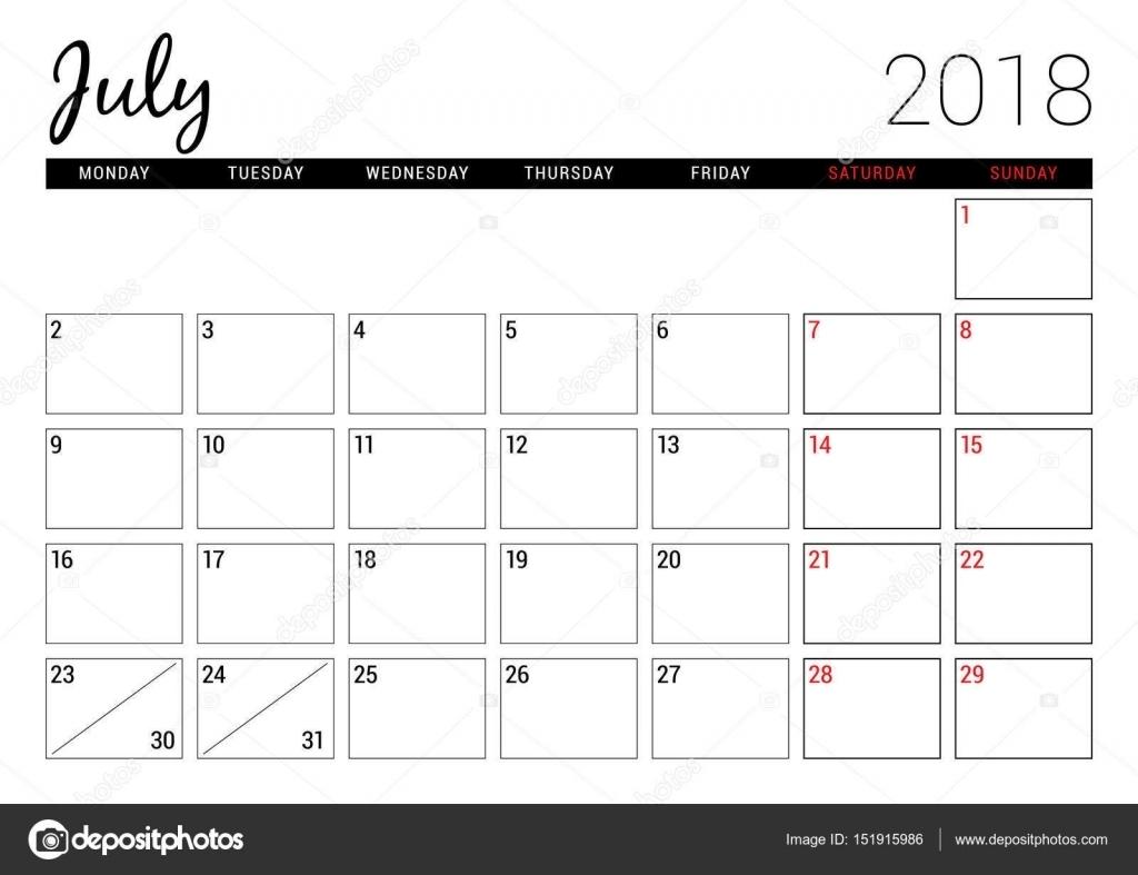 July 2018. Printable Calendar Planner Design Template. Week