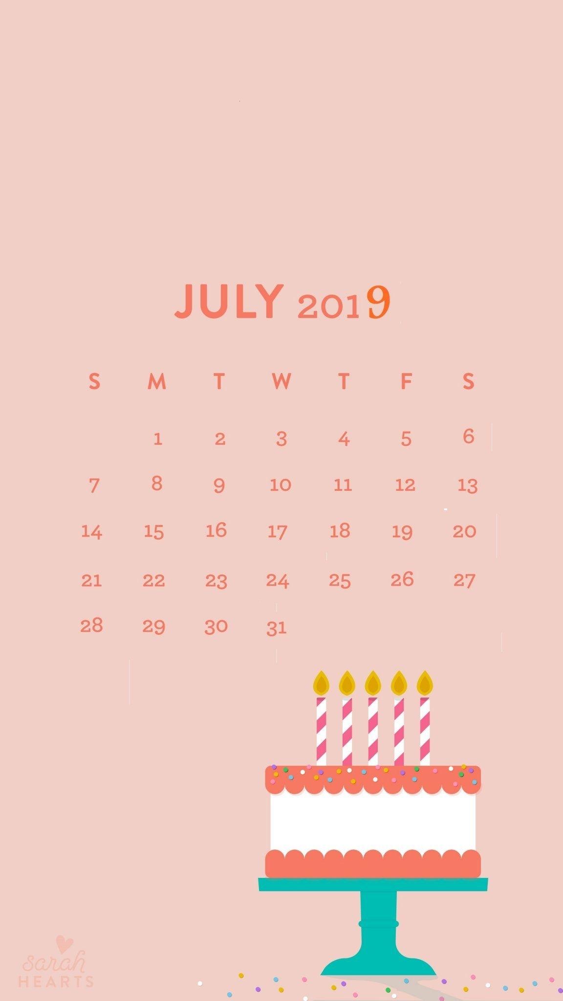 July 2019 Iphone Calendar Wallpaper #july #july2019Calendar