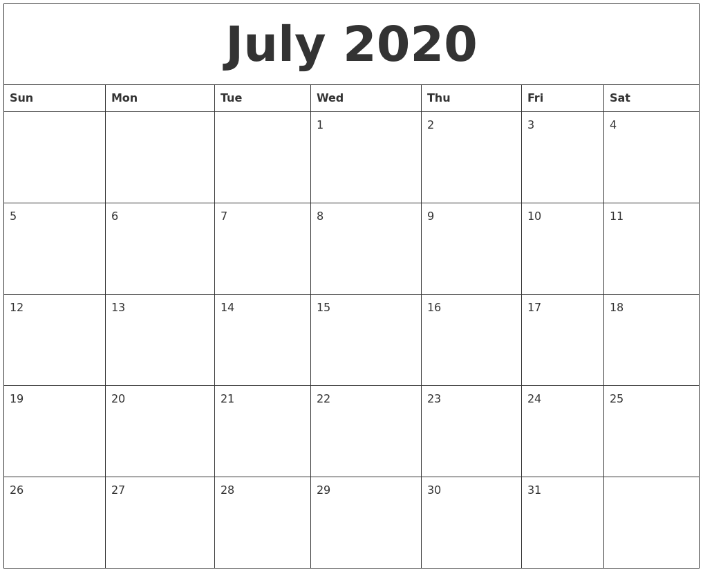 July 2020 Free Monthly Printable Calendar