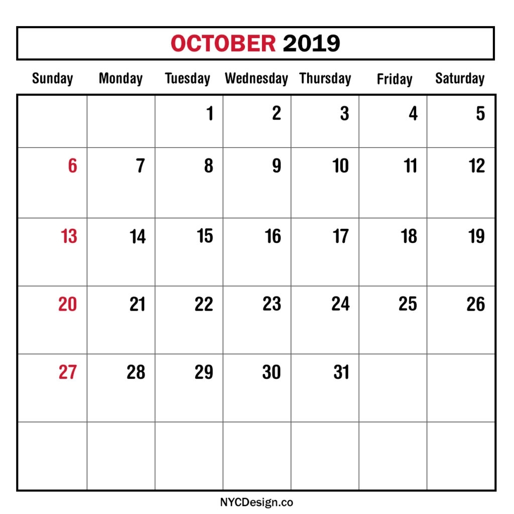 Monthly Calendar October 2019, Monthly Planner, Printable