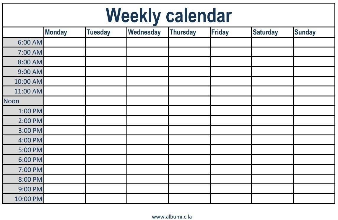Monthly Calendars With Hourly Slots | Ten Wall Calendar