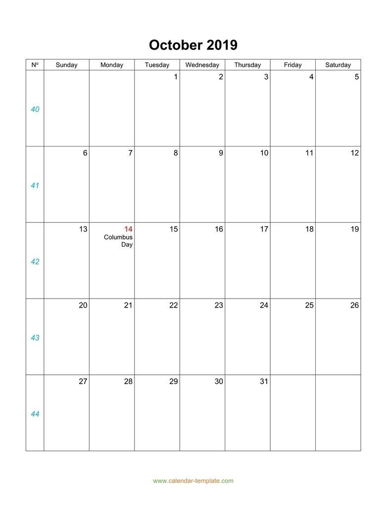 October Calendar 2019 Blank Template