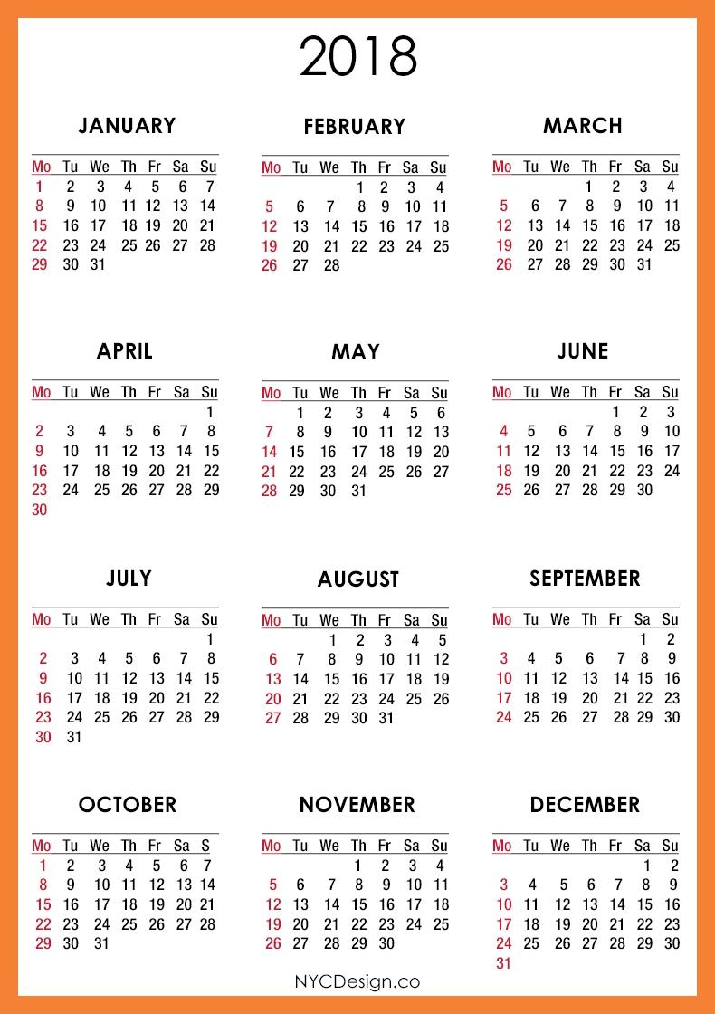 Printable 2018 Calendar Free | 2018 Calendar Printable