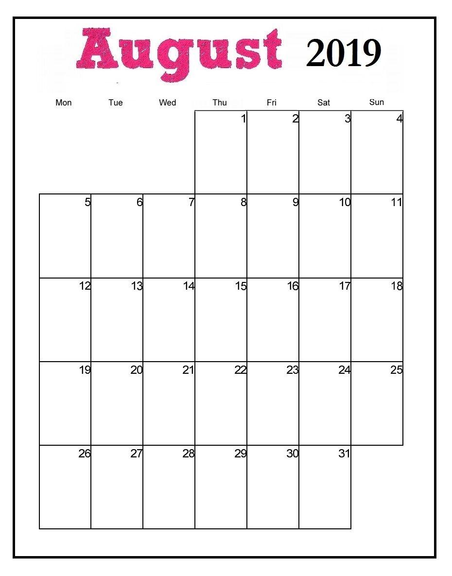 Printable August 2019 Vertical Calendar | Print Calendar