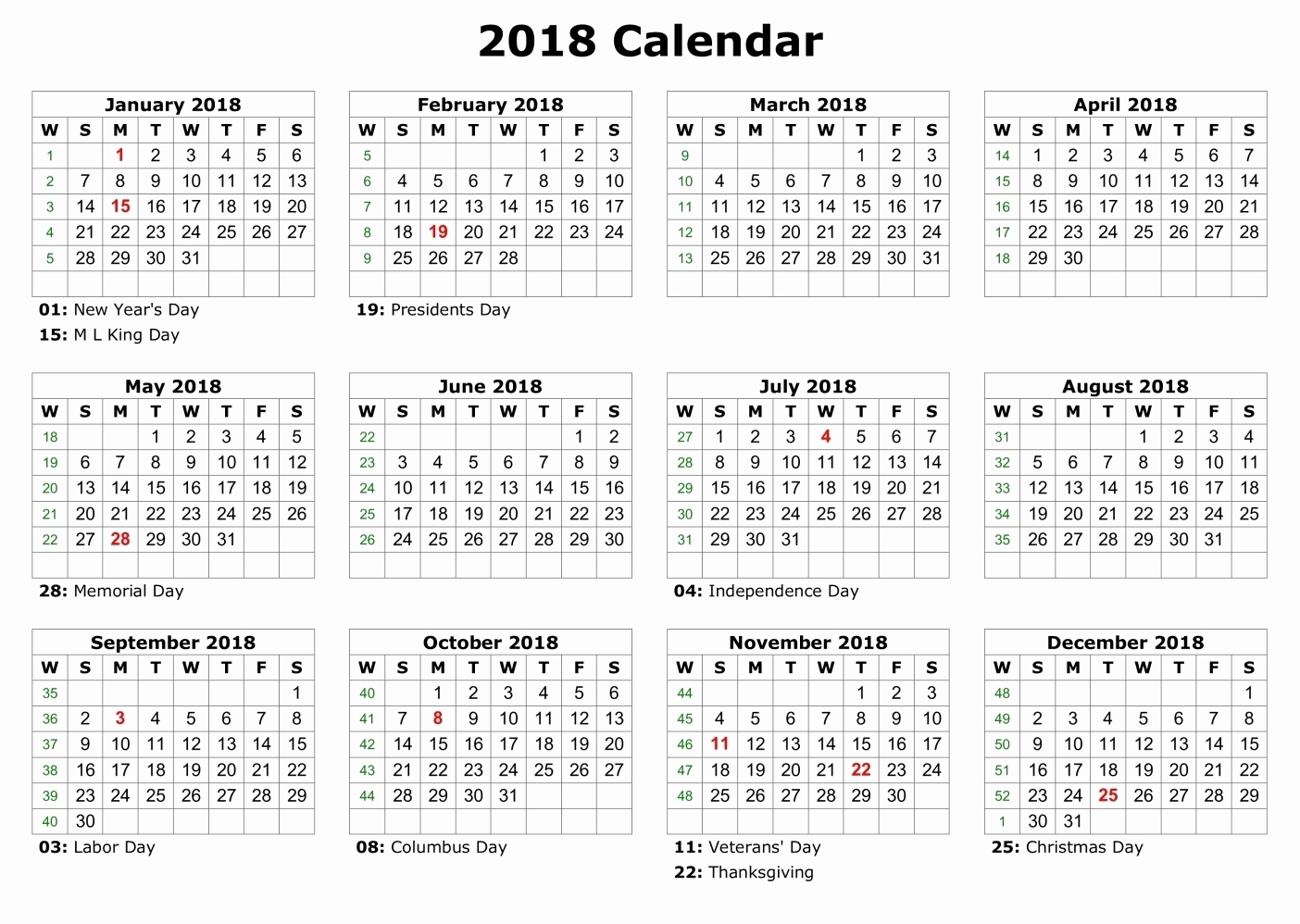 Printable Calendar 2018 Big Boxes | Printable Calendar 2019