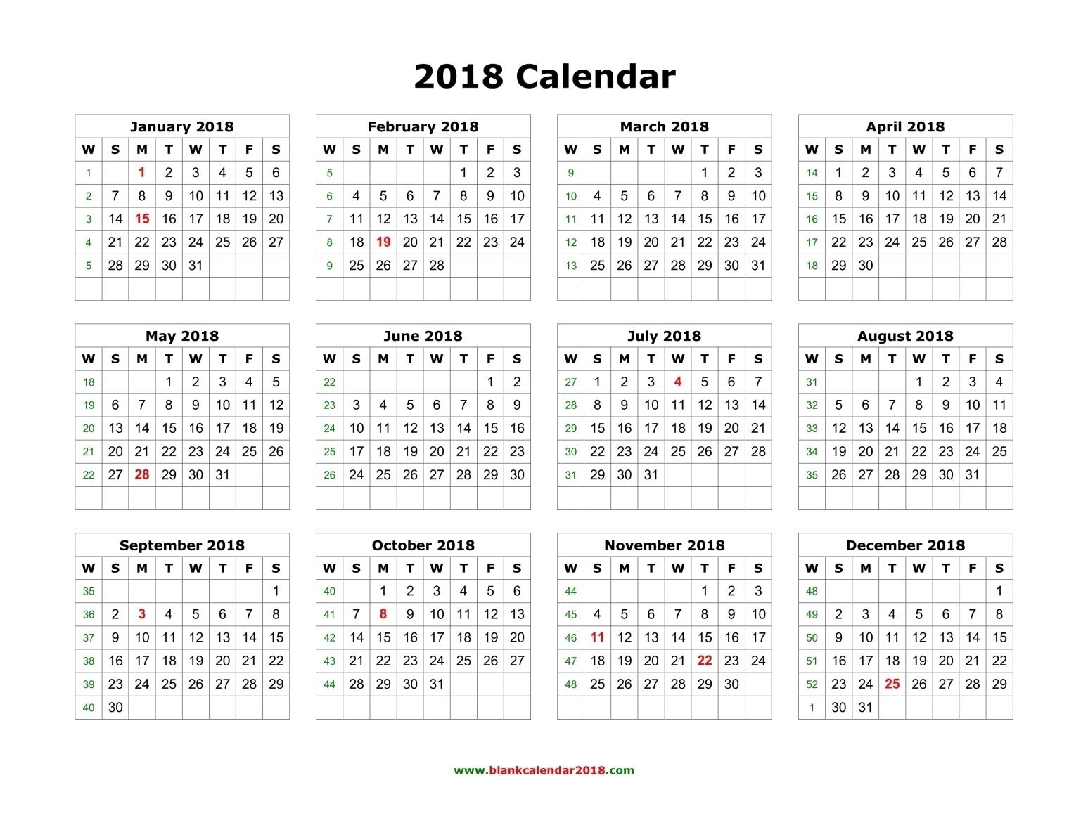 Printable Calendar 2018 Year View   Printable Calendar 2019