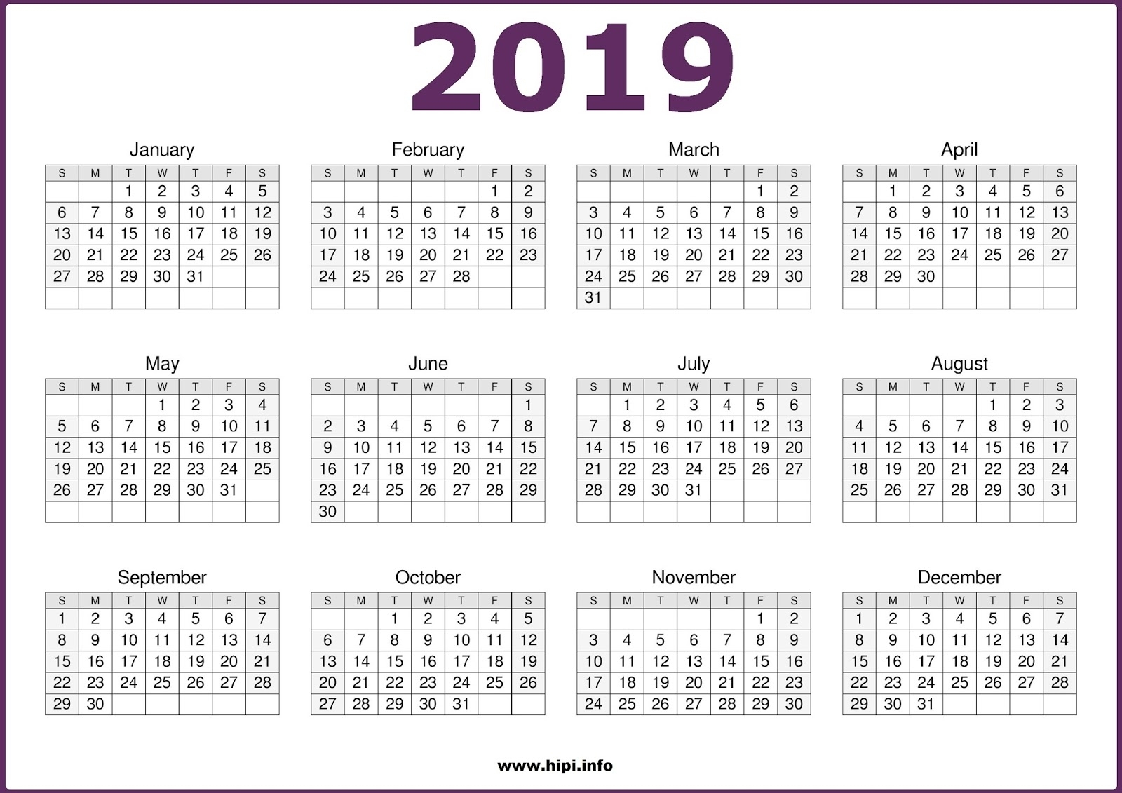 Printable Calendar 2019 One Page | Printable Calendar 2019