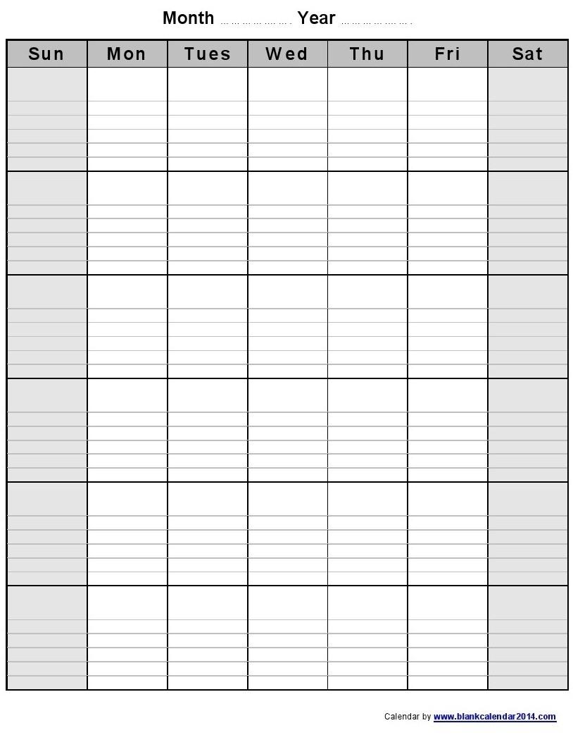 Printable Calendar Room For Notes | Calendar Design Ideas