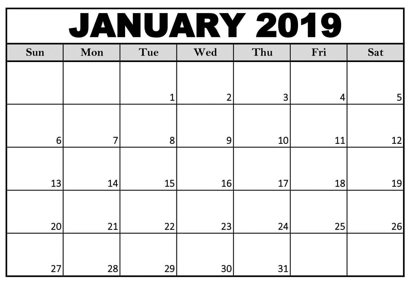 Printable January 2019 Calendar Decorative | Free Printable